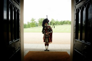 Wee Roddy and the big doors at Dundas castle