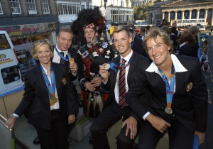 Playing aboard the Olympic homecoming bus.  Hoys first gold medal I think!