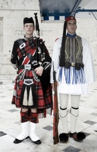 The Athenian Parliamentary guard meets Roddy, made front page news in Athens!